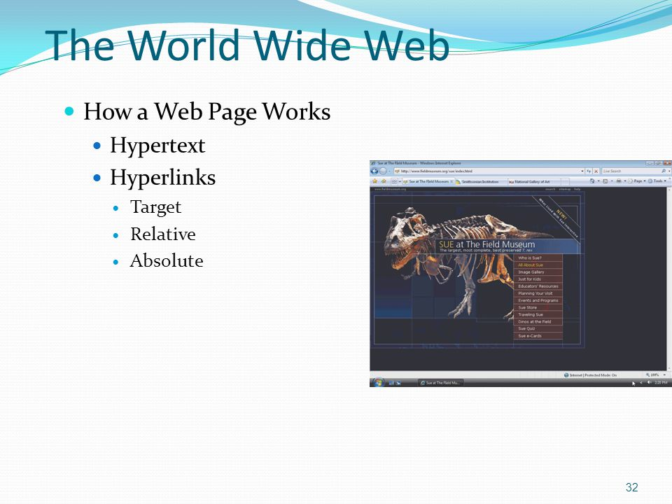 How a Web Page Works Hypertext Hyperlinks Target Relative Absolute 32 The World Wide Web