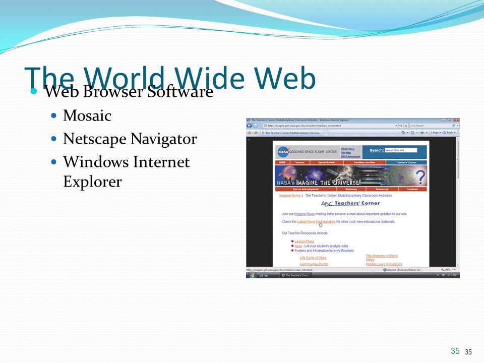 Web Browser Software Mosaic Netscape Navigator Windows Internet Explorer 35