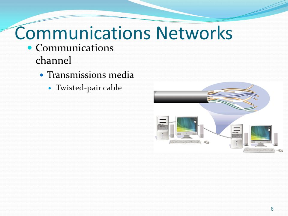 Communications channel Transmissions media Twisted-pair cable 8 Communications Networks