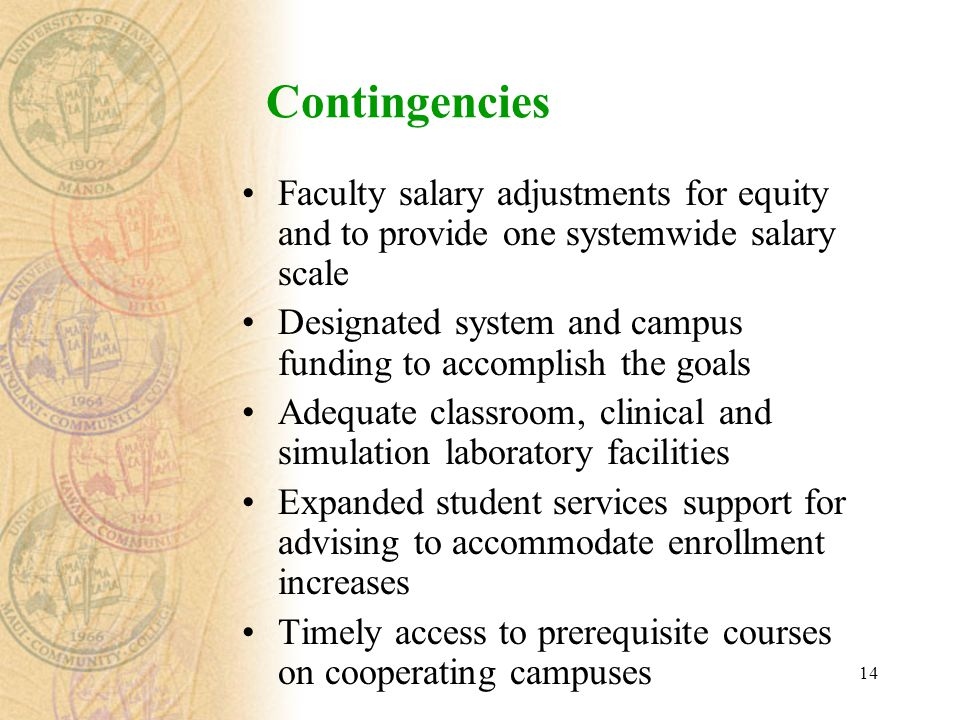 14 Contingencies Faculty salary adjustments for equity and to provide one systemwide salary scale Designated system and campus funding to accomplish t