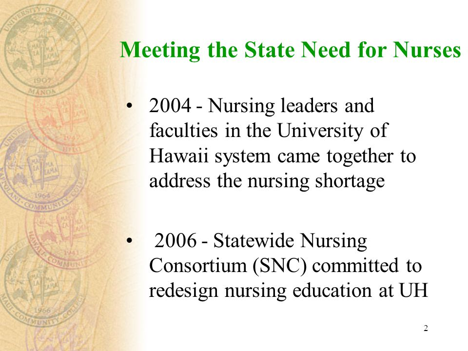 2 Meeting the State Need for Nurses 2004 - Nursing leaders and faculties in the University of Hawaii system came together to address the nursing short