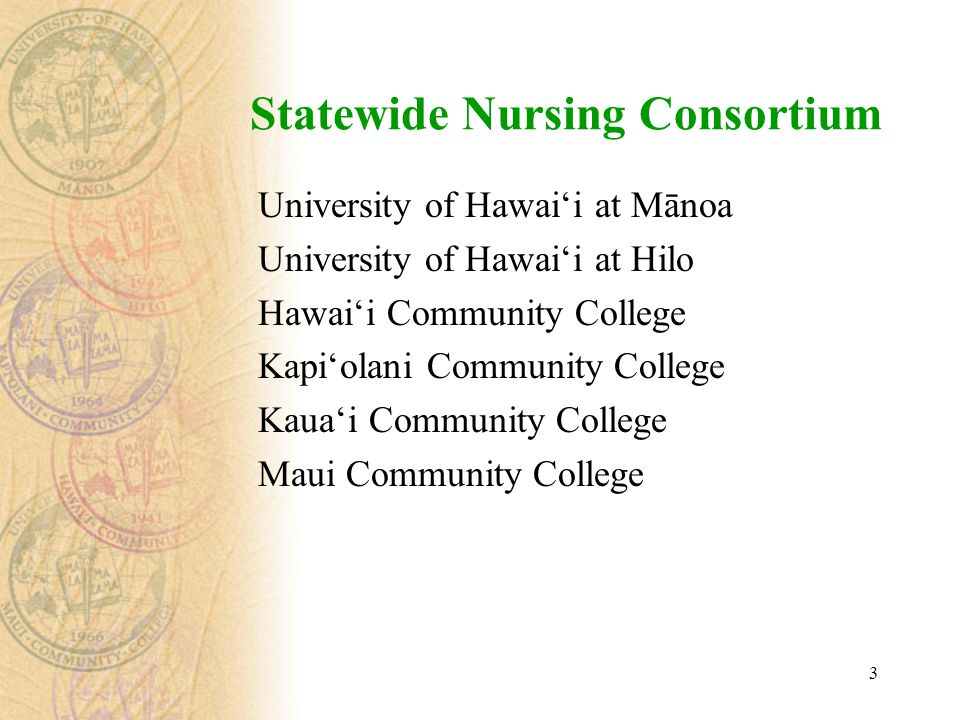 3 Statewide Nursing Consortium University of Hawai'i at Mānoa University of Hawai'i at Hilo Hawai'i Community College Kapi'olani Community College Kaua'i Community College Maui Community College