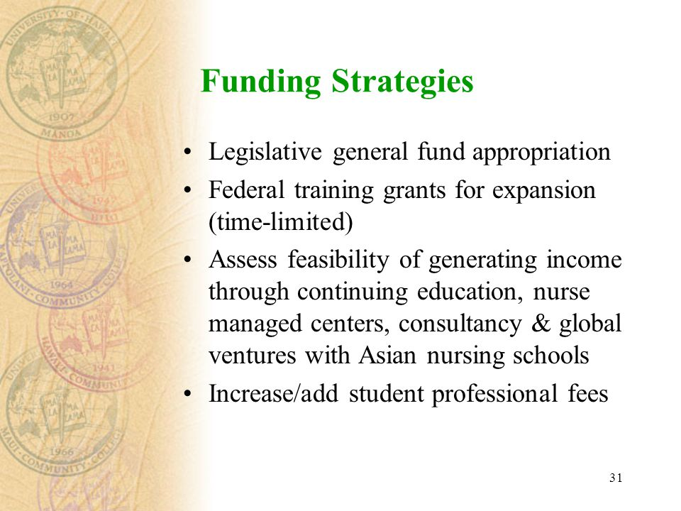 31 Funding Strategies Legislative general fund appropriation Federal training grants for expansion (time-limited) Assess feasibility of generating income through continuing education, nurse managed centers, consultancy & global ventures with Asian nursing schools Increase/add student professional fees