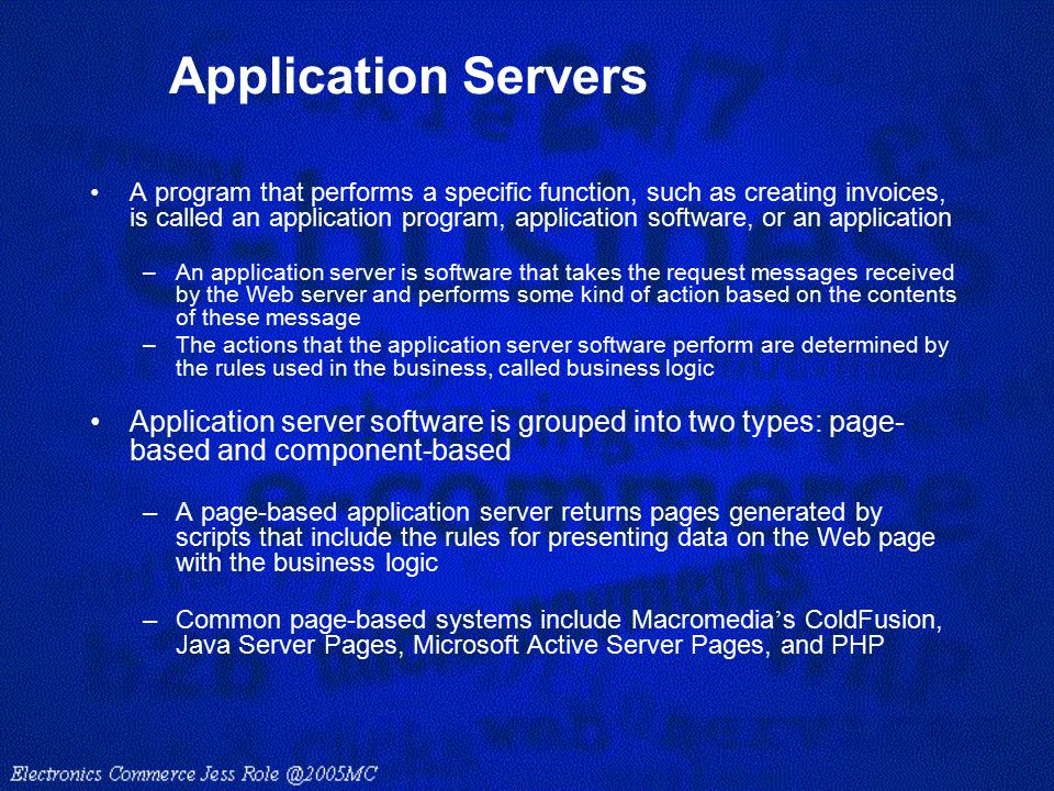 Application Servers A program that performs a specific function, such as creating invoices, is called an application program, application software, or