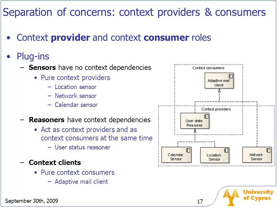 September 30th, 2009 17 Separation of concerns: context providers & consumers Context provider and context consumer roles Plug-ins –Sensors have no co