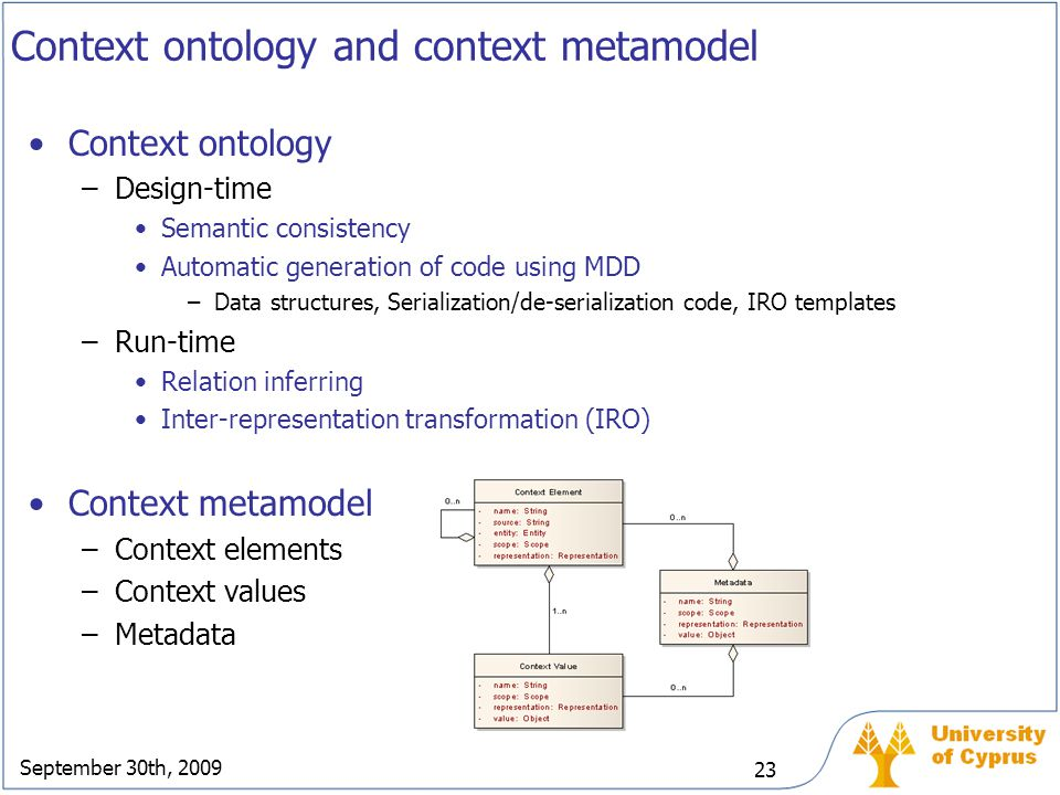 September 30th, 2009 23 Context ontology and context metamodel Context ontology –Design-time Semantic consistency Automatic generation of code using M