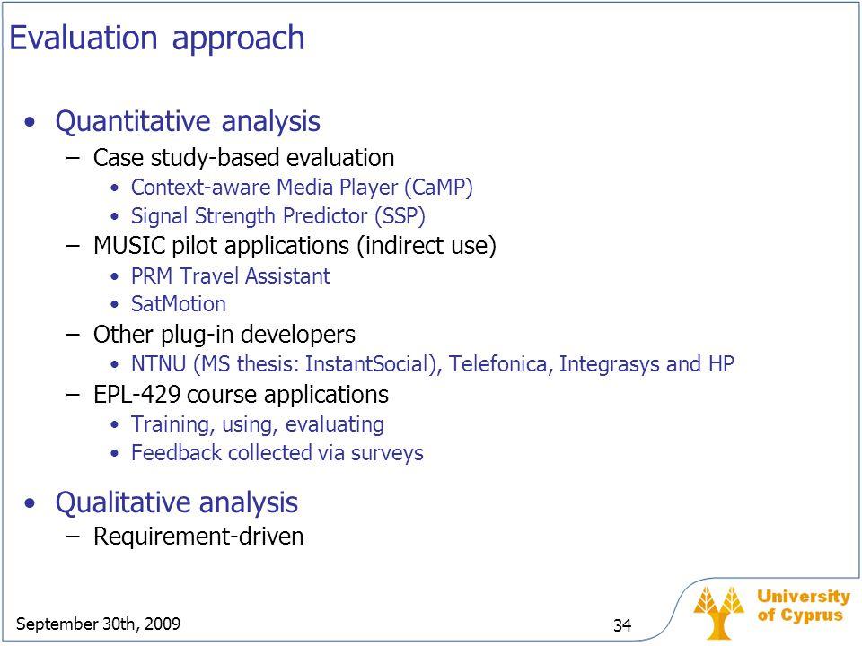 September 30th, 2009 34 Evaluation approach Quantitative analysis –Case study-based evaluation Context-aware Media Player (CaMP) Signal Strength Predi