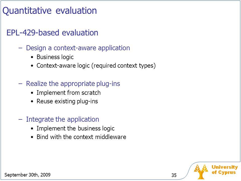 September 30th, 2009 35 Quantitative evaluation EPL-429-based evaluation –Design a context-aware application Business logic Context-aware logic (requi