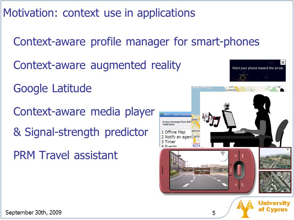 September 30th, 2009 5 Context-aware profile manager for smart-phones Context-aware augmented reality Google Latitude Context-aware media player & Sig