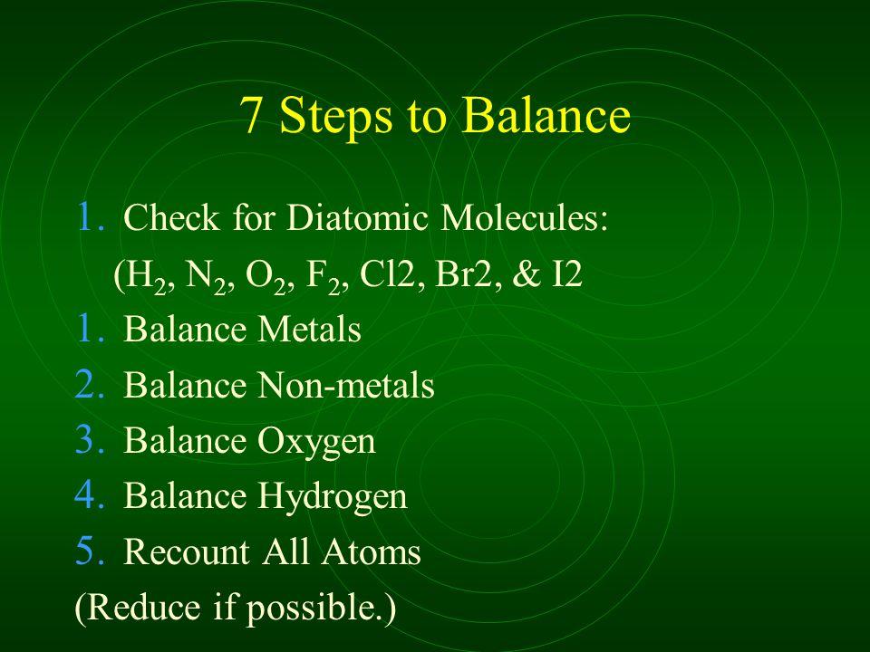 7 Steps to Balance 1. Check for Diatomic Molecules: (H 2, N 2, O 2, F 2, Cl2, Br2, & I2 1. Balance Metals 2. Balance Non-metals 3. Balance Oxygen 4. B