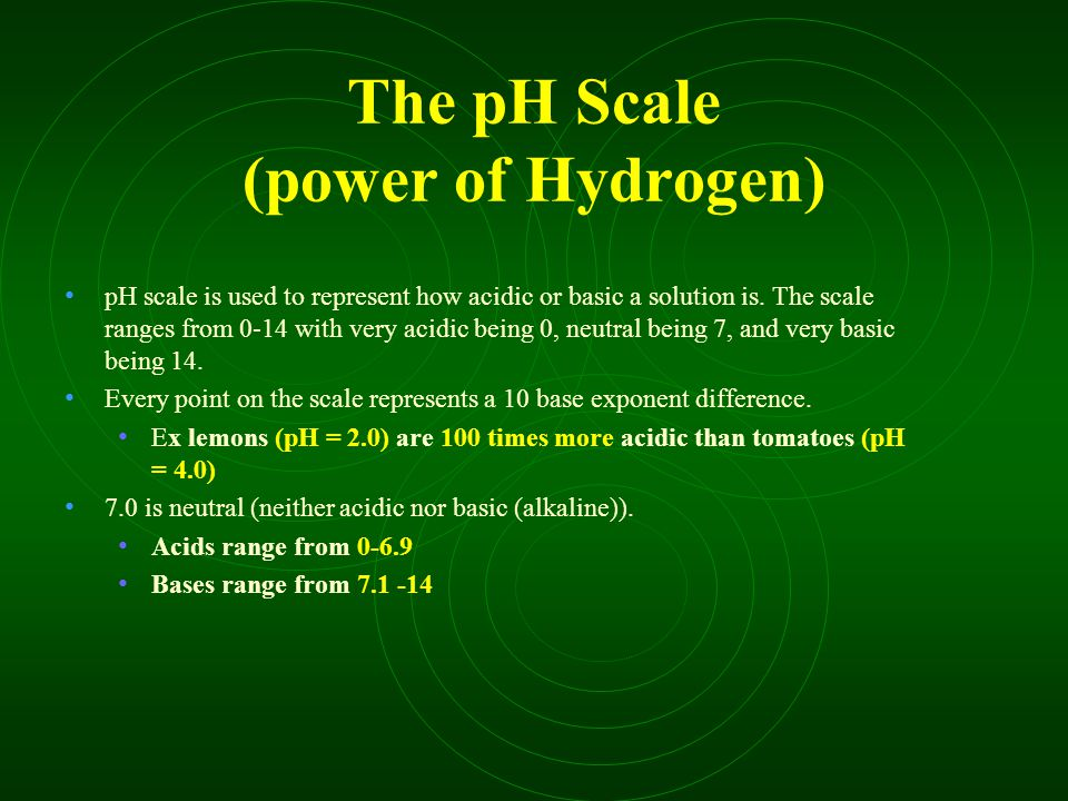 The pH Scale (power of Hydrogen) pH scale is used to represent how acidic or basic a solution is.