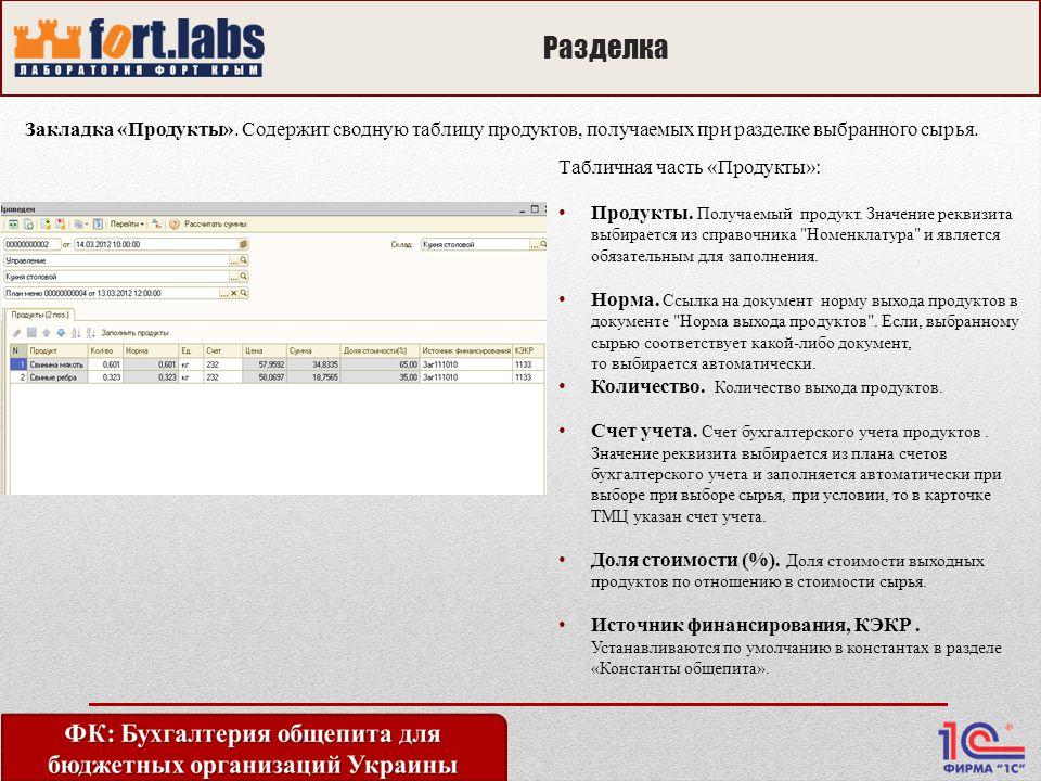 Разделка Закладка «Продукты».