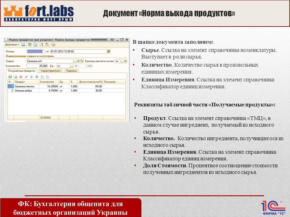 Документ «Норма выхода продуктов» В шапке документа заполняем: Сырье.