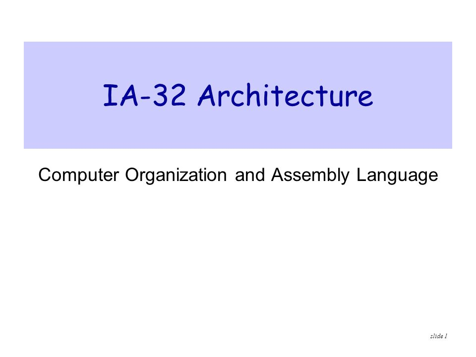 slide 2 Presentation Outline  Basic Computer Organization  Intel Microprocessors  IA-32 Registers  Instruction Execution Cycle  IA-32 Memory Management