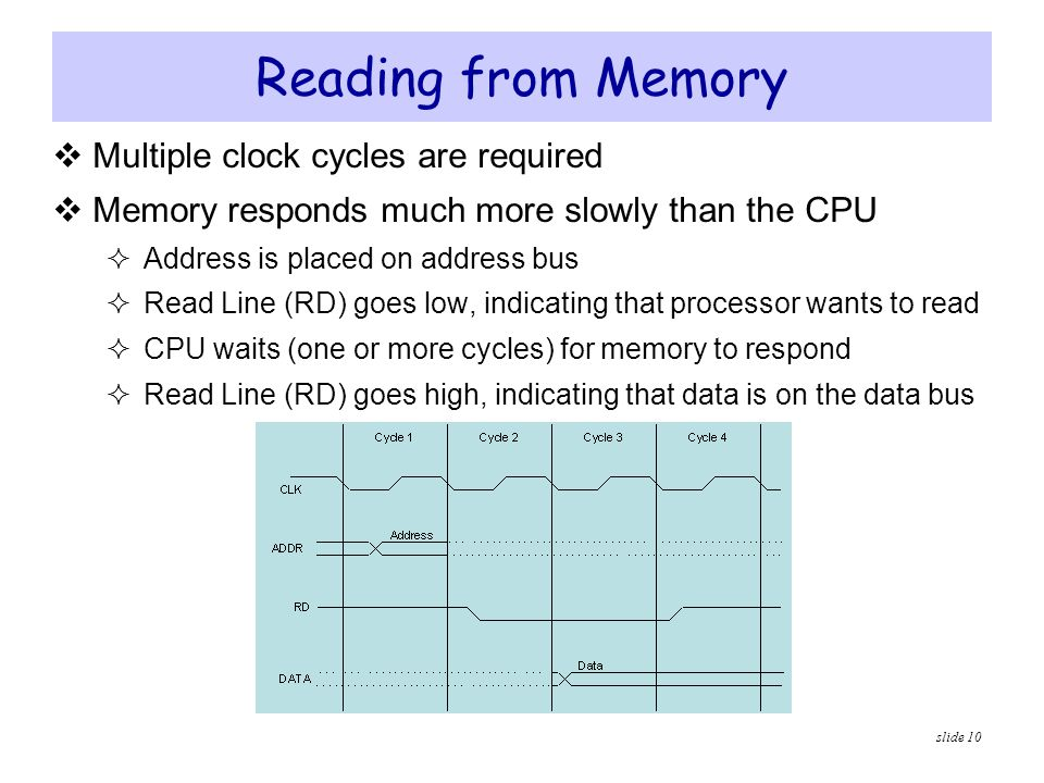 slide 10 Reading from Memory  Multiple clock cycles are required  Memory responds much more slowly than the CPU  Address is placed on address bus 