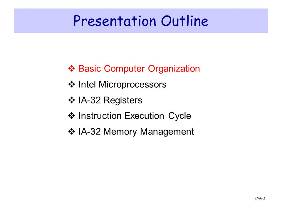 slide 43 Flat Memory Model  Modern operating systems turn segmentation off  Each program uses one 32-bit linear address space  Up to 2 32 = 4 GB of memory can be addressed  Segment registers are defined by the operating system  All segments are mapped to the same linear address space  In assembly language, we use.MODEL flat directive  To indicate the Flat memory model  A linear address is also called a virtual address  Operating system maps virtual address onto physical addresses  Using a technique called paging