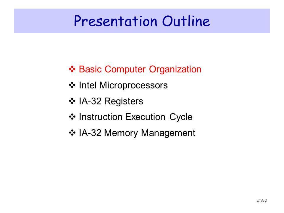 slide 2 Presentation Outline  Basic Computer Organization  Intel Microprocessors  IA-32 Registers  Instruction Execution Cycle  IA-32 Memory Mana