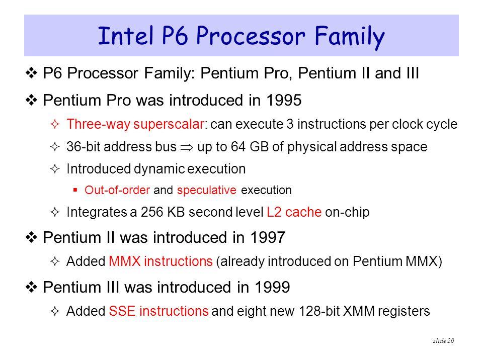 slide 20 Intel P6 Processor Family  P6 Processor Family: Pentium Pro, Pentium II and III  Pentium Pro was introduced in 1995  Three-way superscalar
