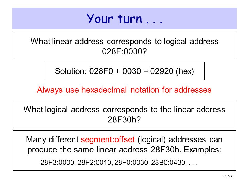slide 42 Your turn... What linear address corresponds to logical address 028F:0030? Solution: 028F0 + 0030 = 02920 (hex) Always use hexadecimal notati