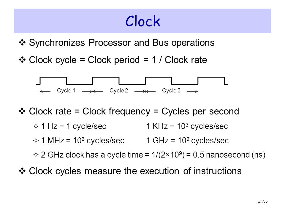 slide 5  Synchronizes Processor and Bus operations  Clock cycle = Clock period = 1 / Clock rate  Clock rate = Clock frequency = Cycles per second 
