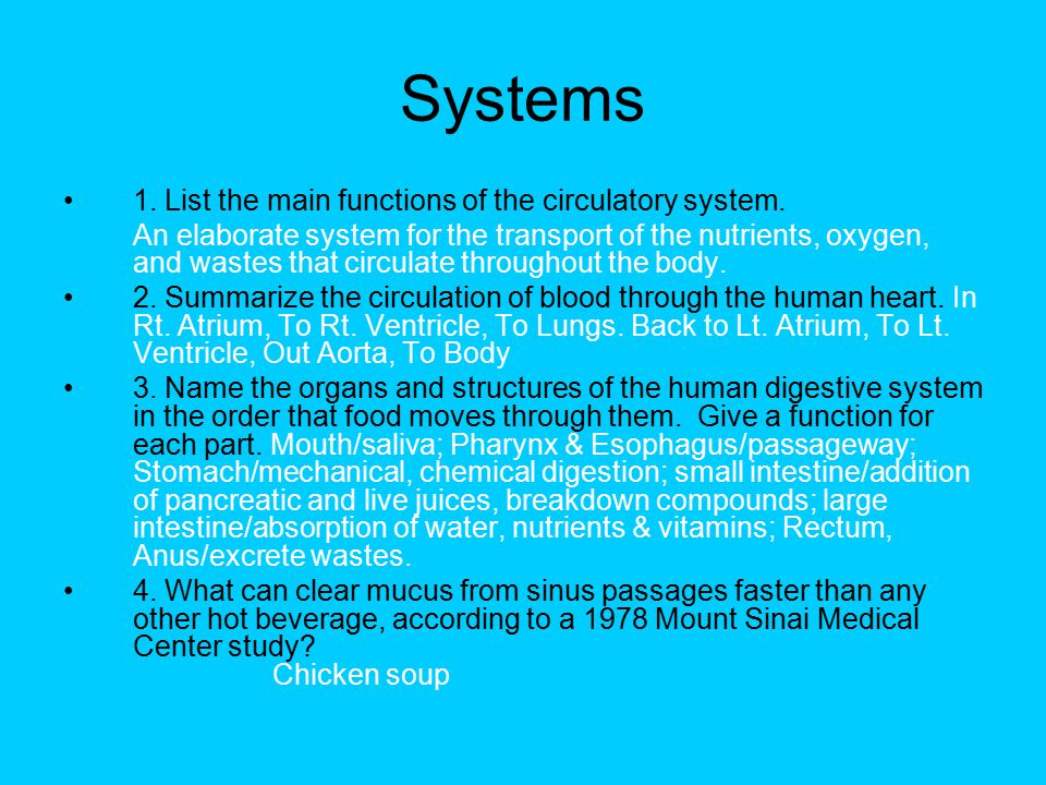 Systems 1. List the main functions of the circulatory system. An elaborate system for the transport of the nutrients, oxygen, and wastes that circulat