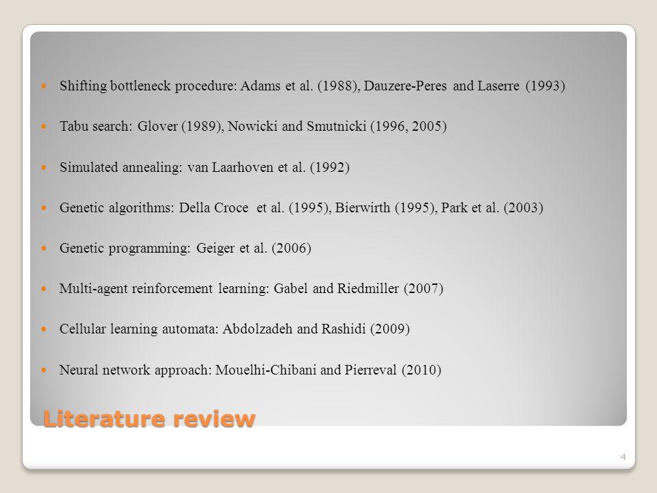 Literature review Shifting bottleneck procedure: Adams et al.