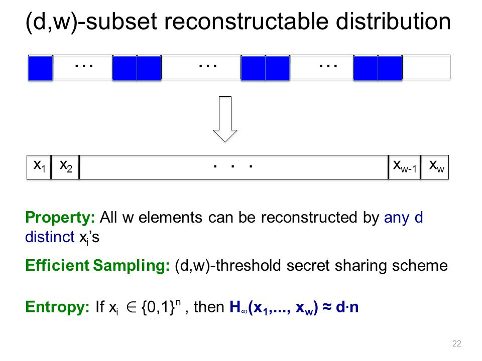 22 (d,w)-subset reconstructable distribution ……… xi1xi1 xi2xi2 xidxid... x1x1 x2x2 x w-1 xwxw Property: All w elements can be reconstructed by any d d