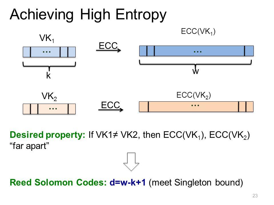 23 Achieving High Entropy VK 1 k w ECC Desired property: If VK1≠ VK2, then ECC(VK 1 ), ECC(VK 2 ) far apart ECC VK 2 ECC(VK 1 ) Reed Solomon Codes: d=w-k+1 (meet Singleton bound) ECC(VK 2 ) k