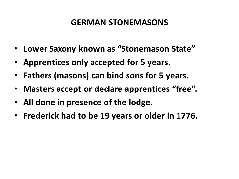 GERMAN STONEMASONS Lower Saxony known as Stonemason State Apprentices only accepted for 5 years.