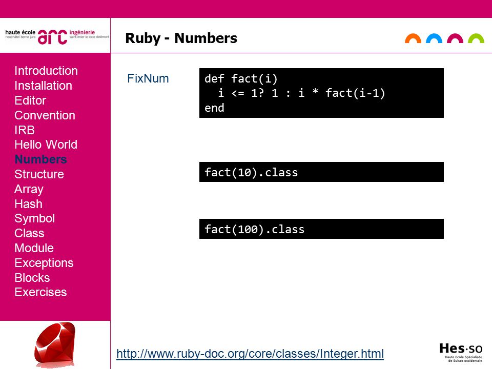 Ruby - Numbers FixNum Introduction Installation Editor Convention IRB Hello World Numbers Structure Array Hash Symbol Class Module Exceptions Blocks Exercises def fact(i) i <= 1.
