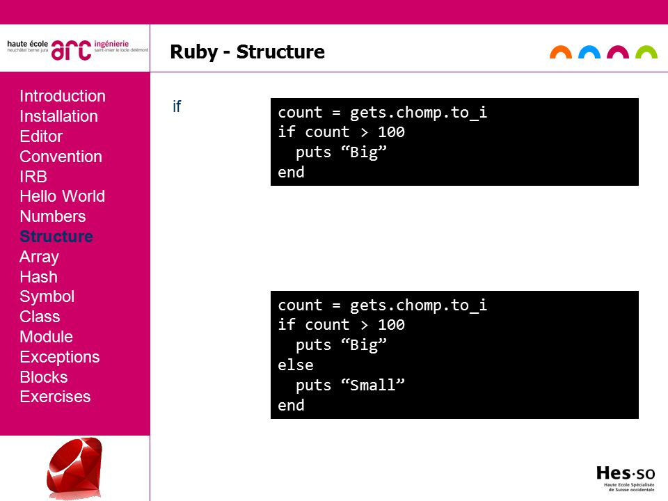 Ruby - Structure if Introduction Installation Editor Convention IRB Hello World Numbers Structure Array Hash Symbol Class Module Exceptions Blocks Exercises count = gets.chomp.to_i if count > 100 puts Big end count = gets.chomp.to_i if count > 100 puts Big else puts Small end