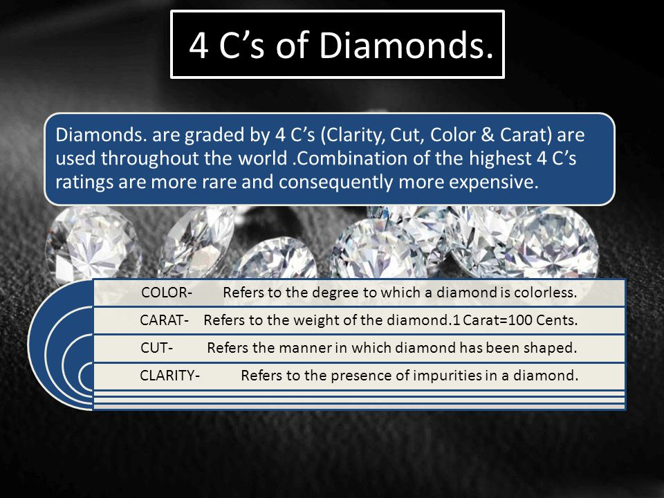 4 C's of Diamonds. Diamonds. are graded by 4 C's (Clarity, Cut, Color & Carat) are used throughout the world.Combination of the highest 4 C's ratings