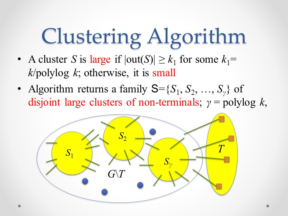 Clustering Algorithm A cluster S is large if |out(S)| ≥ k 1 for some k 1 = k/polylog k; otherwise, it is small Algorithm returns a family S ={S 1, S 2