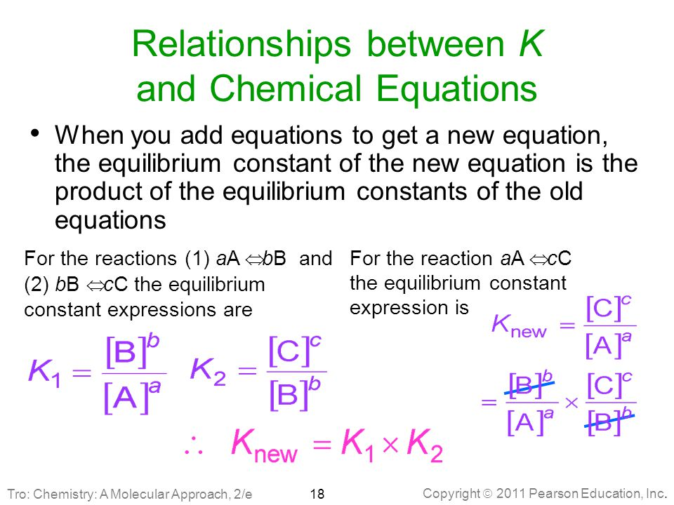 Copyright  2011 Pearson Education, Inc. Relationships between K and Chemical Equations When you add equations to get a new equation, the equilibrium