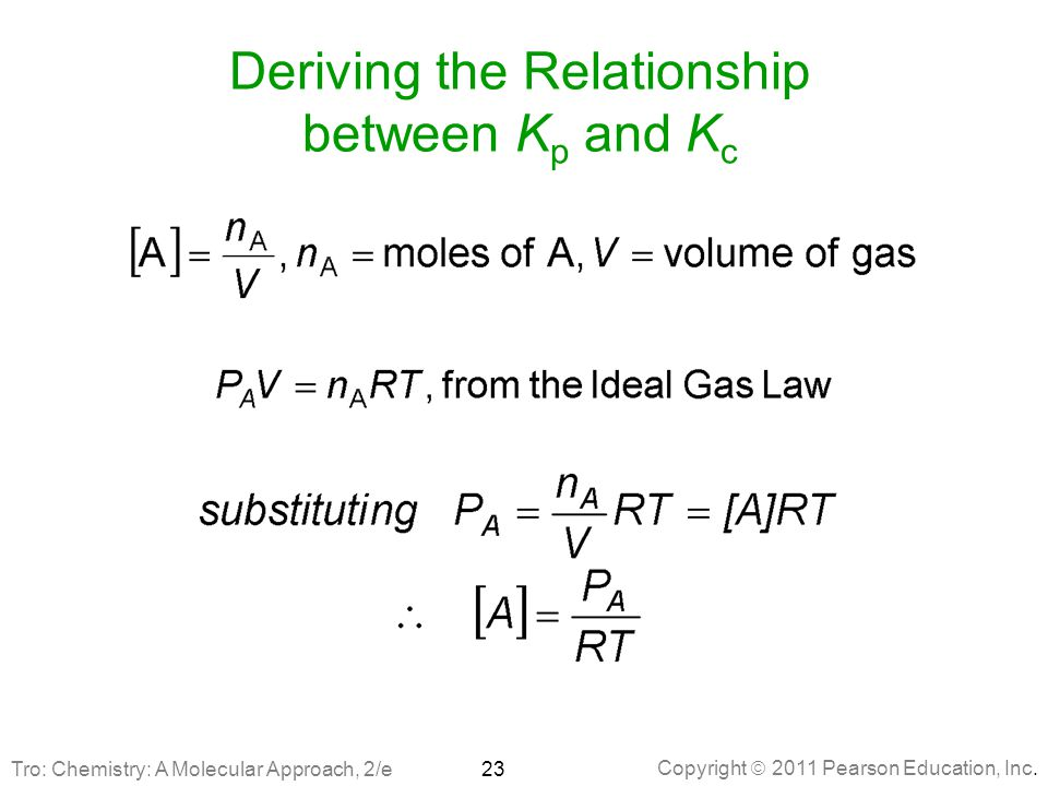Copyright  2011 Pearson Education, Inc. Deriving the Relationship between K p and K c 23 Tro: Chemistry: A Molecular Approach, 2/e