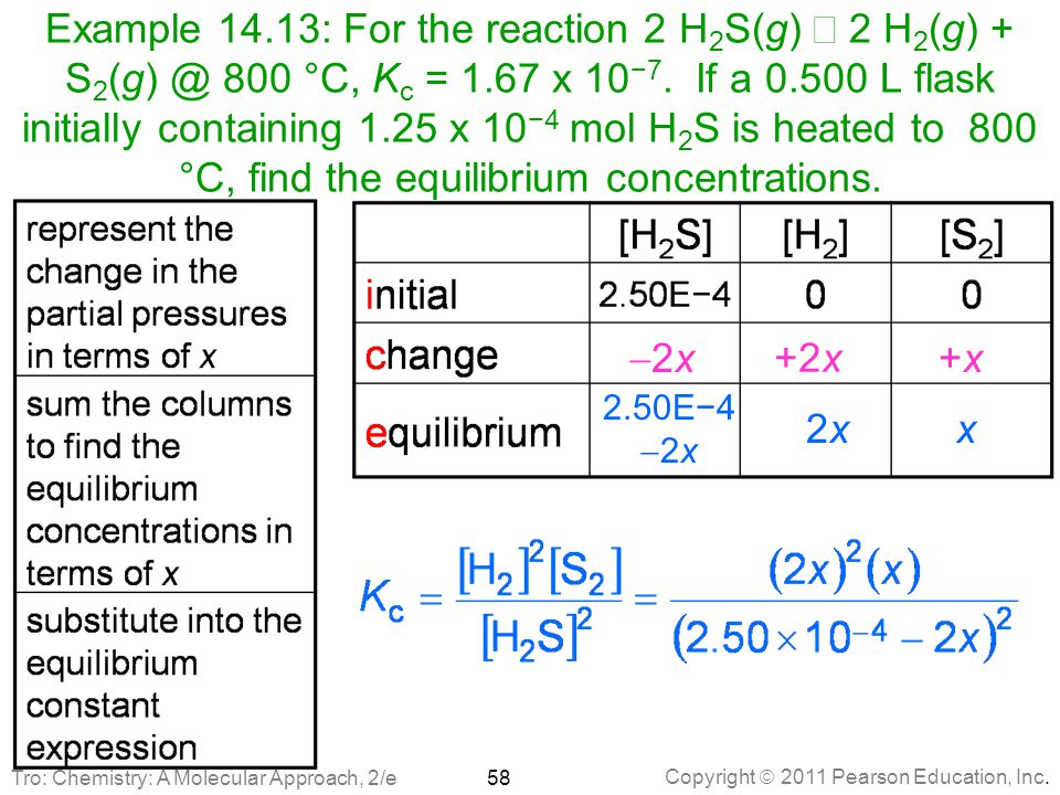 Copyright  2011 Pearson Education, Inc. Example 14.13: For the reaction 2 H 2 S(g)  2 H 2 (g) + S 2 (g) @ 800 °C, K c = 1.67 x 10 −7. If a 0.500 L f