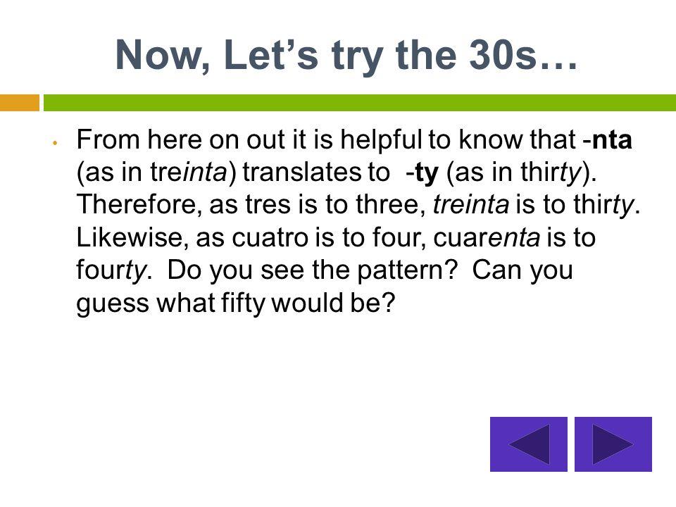 First, give the twenties a try… 24veinte veintiunoveinticuatro veinte y cuatro 26 veinte veinte y seis veinticinco veintiseis 29 veinte y nueve veintinueve veintiocho veintidós