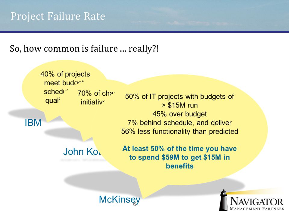 Project Failure Rate 6 IBM McKinsey So, how common is failure … really?!