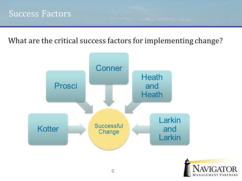 Success Factors 9 Successful Change KotterProsciConner Heath and Heath Larkin and Larkin What are the critical success factors for implementing change