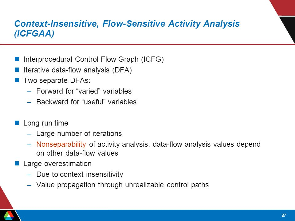 27 Context-Insensitive, Flow-Sensitive Activity Analysis (ICFGAA) Interprocedural Control Flow Graph (ICFG) Iterative data-flow analysis (DFA) Two separate DFAs: –Forward for varied variables –Backward for useful variables Long run time –Large number of iterations –Nonseparability of activity analysis: data-flow analysis values depend on other data-flow values Large overestimation –Due to context-insensitivity –Value propagation through unrealizable control paths