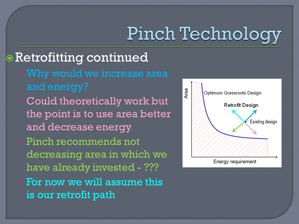  Retrofitting continued Why would we increase area and energy.