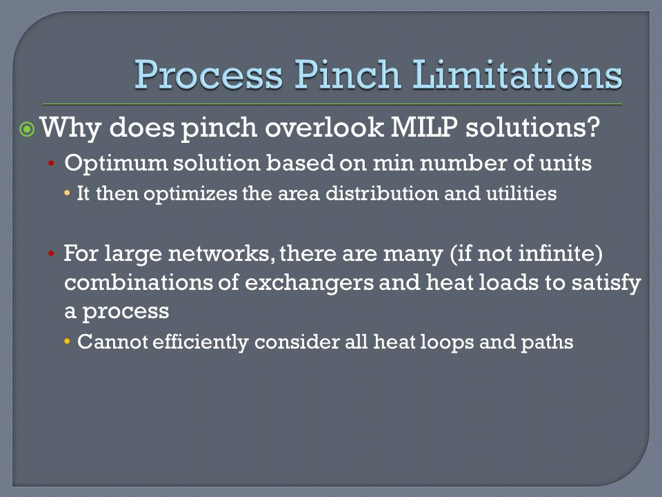  Why does pinch overlook MILP solutions.