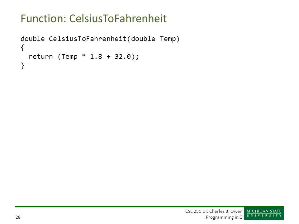 CSE 251 Dr. Charles B. Owen Programming in C28 Function: CelsiusToFahrenheit double CelsiusToFahrenheit(double Temp) { return (Temp * 1.8 + 32.0); }