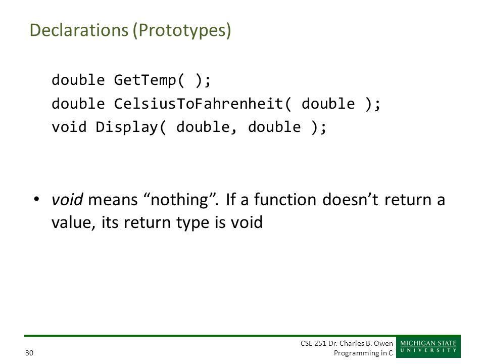 CSE 251 Dr. Charles B. Owen Programming in C30 Declarations (Prototypes) double GetTemp( ); double CelsiusToFahrenheit( double ); void Display( double