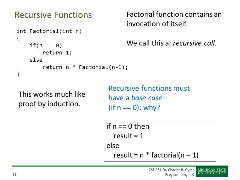 CSE 251 Dr. Charles B. Owen Programming in C33 Factorial function contains an invocation of itself. We call this a: recursive call. Recursive function