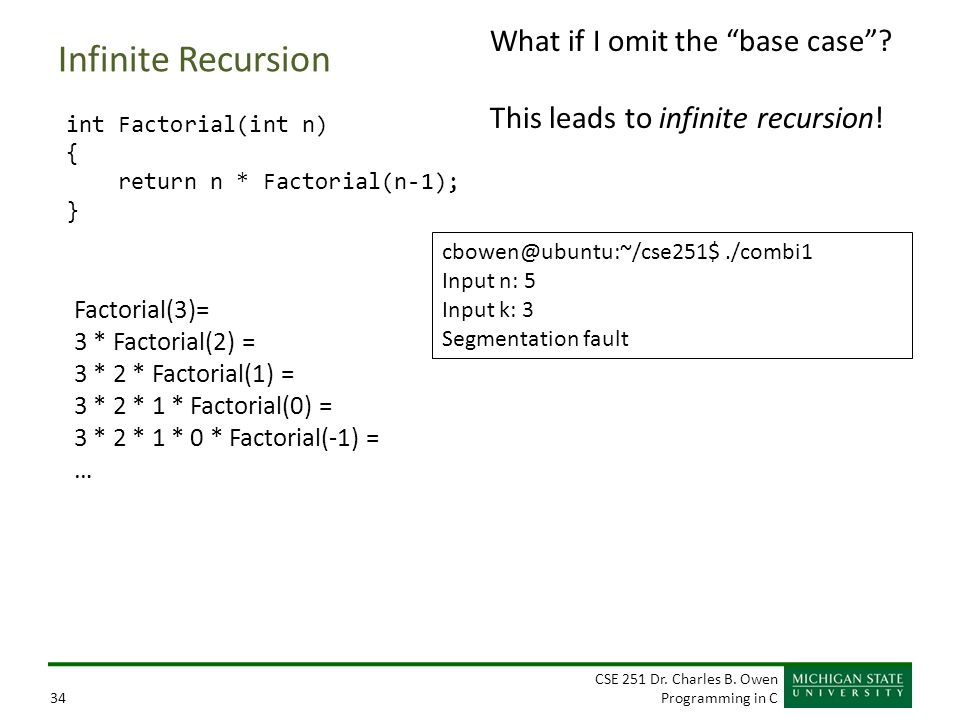 """CSE 251 Dr. Charles B. Owen Programming in C34 Infinite Recursion int Factorial(int n) { return n * Factorial(n-1); } What if I omit the """"base case""""?"""