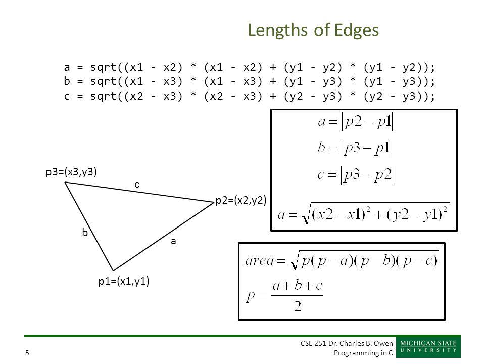 CSE 251 Dr. Charles B. Owen Programming in C5 Lengths of Edges a = sqrt((x1 - x2) * (x1 - x2) + (y1 - y2) * (y1 - y2)); b = sqrt((x1 - x3) * (x1 - x3)