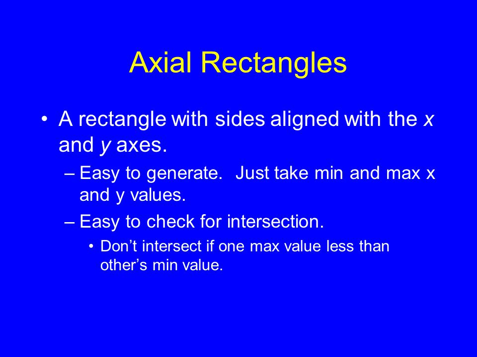 Axial Rectangles A rectangle with sides aligned with the x and y axes.