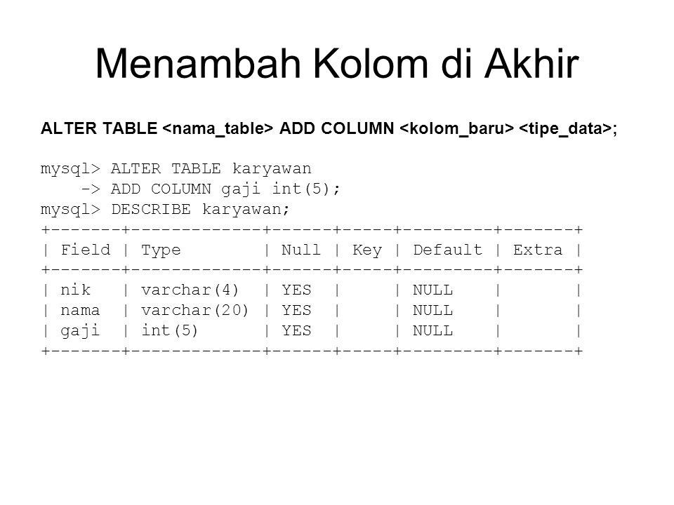 Menambah Kolom di Akhir ALTER TABLE ADD COLUMN ; mysql> ALTER TABLE karyawan -> ADD COLUMN gaji int(5); mysql> DESCRIBE karyawan; +-------+-------------+------+-----+---------+-------+ | Field | Type | Null | Key | Default | Extra | +-------+-------------+------+-----+---------+-------+ | nik | varchar(4) | YES | | NULL | | | nama | varchar(20) | YES | | NULL | | | gaji | int(5) | YES | | NULL | | +-------+-------------+------+-----+---------+-------+