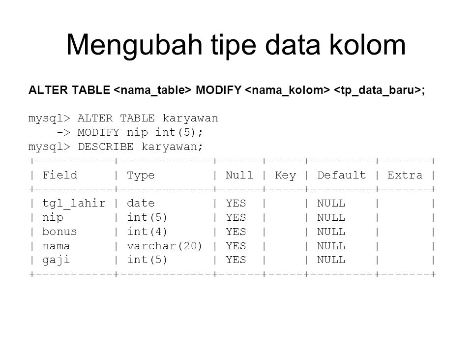 Mengubah tipe data kolom ALTER TABLE MODIFY ; mysql> ALTER TABLE karyawan -> MODIFY nip int(5); mysql> DESCRIBE karyawan; +-----------+-------------+------+-----+---------+-------+ | Field | Type | Null | Key | Default | Extra | +-----------+-------------+------+-----+---------+-------+ | tgl_lahir | date | YES | | NULL | | | nip | int(5) | YES | | NULL | | | bonus | int(4) | YES | | NULL | | | nama | varchar(20) | YES | | NULL | | | gaji | int(5) | YES | | NULL | | +-----------+-------------+------+-----+---------+-------+